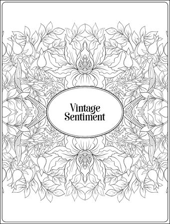 Floral pattern, background In art nouveau style, vintage, old, retro style. In gold and black. Good for the cover of a notebook, tablet, phone, product label. Outline hand drawing vector illustration Banco de Imagens - 133734444