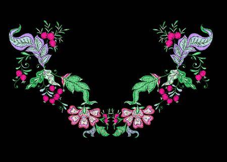 Éléments décoratifs floraux dans le style de broderie jacobéenne, motif floral fantaisie, style vintage, ancien, rétro. Imitation de broderie pour le décolleté. Illustration vectorielle.