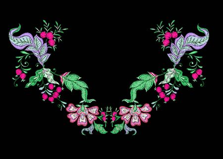 Floral decorative elements in jacobean embroidery style, fantasy floral pattern, vintage, old, retro style. Embroidery imitation for neck line. Vector illustration.