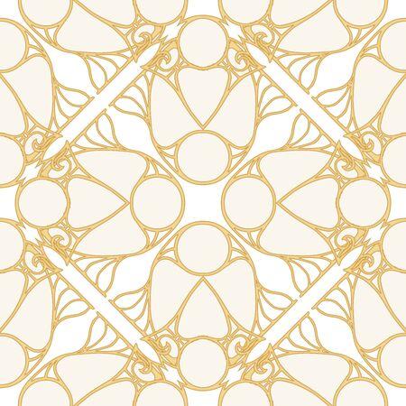 Motivo decorativo, marcos, cenefas. Patrón sin costuras, fondo. Ilustración de vector de color. En estilo art nouveau, estilo vintage, antiguo, retro. En colores beige vintage aislado sobre fondo blanco.