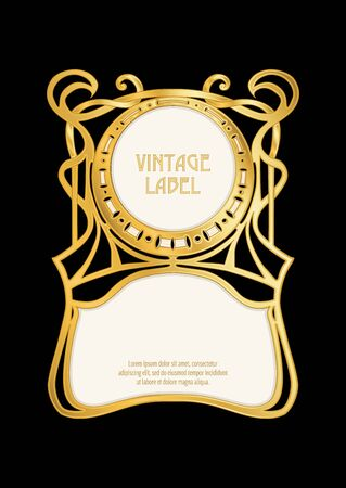 Label, decorative frame, border. Good for product label. with place for text In art nouveau style, vintage, old, retro style. In gold and black. Isolated on black background..