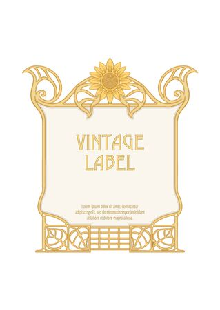 Label, decorative frame, border. Good for product label. with place for text Colored vector illustration. In art nouveau style, vintage, old, retro style. Isolated on white background..