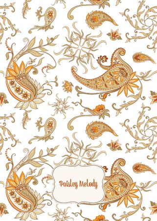 Pattern with traditional paisley. Floral vector illustration in damask style. Good for the cover of a notebook, tablet, phone. Colored vector illustration..