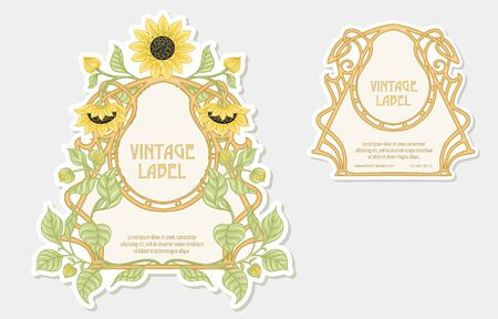 Sunflower. Set of 2 labels, decorative frames, borders. Good for product label with place for text Colored vector illustration. In art nouveau style, vintage, old, retro. Isolated on white background. Ilustração
