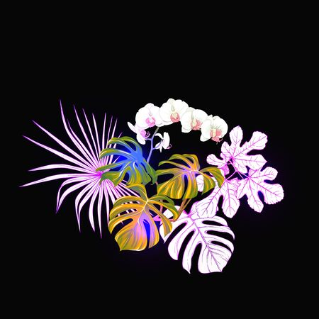 A composition of tropical plants, palm leaves, monsters and white orchids In botanical style Colored vector illustration in neon, fluorescent colors. Colored and outline design. On black background.