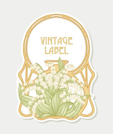 Lily of the valley. Label, decorative frame, border. Good for product label. with place for text. Vector illustration. In art nouveau style, vintage, old, retro style. Isolated on white background.. Banco de Imagens - 133734583