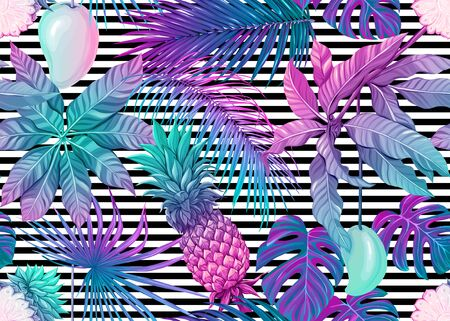 Seamless pattern, background with tropical plants, flowers. Colored vector illustration in neon, fluorescent colors. On black-and-white stripes background.. Ilustrace