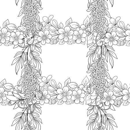 Nahtloses Muster, Hintergrund mit rosa Kirschblüten, Apfelbäumen, Sakura und Akazie. Umreißen Sie Handzeichnungsvektorillustration. Vektor-Illustration. Vektorgrafik
