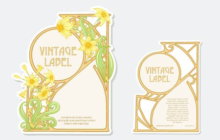 Narcissus. Set of 2 labels, decorative frames, borders. Good for product label with place for text Colored vector illustration. In art nouveau style, vintage, old, retro. Isolated on white background. Ilustração