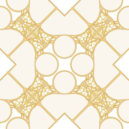 Decorative motif, frames, borders. Seamless pattern, background. Colored vector illustration. In art nouveau style, vintage, old, retro style. In vintage beige colors Isolated on white background