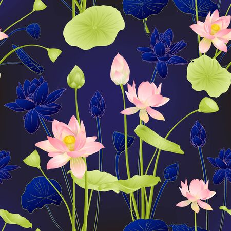 Lotus flowers seamless pattern. Vector illustration. On blue background. Colored and outline design. Stock Vector - 133734644