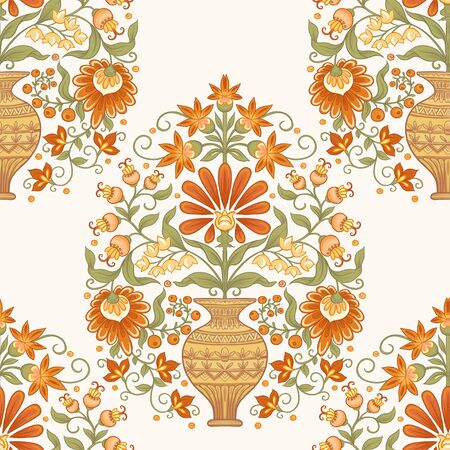 Tradition mughal motif, fantasy flowers in retro, vintage style. Seamless pattern, background. Vector illustration in beige and orange colors. Ilustração