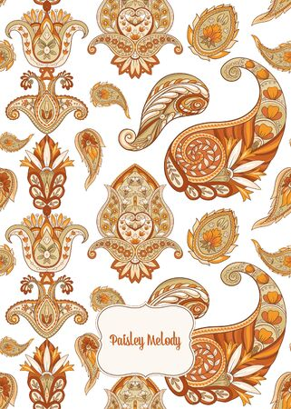 Pattern with traditional paisley. Floral vector illustration in damask style. Good for the cover of a notebook, tablet, phone. Colored vector illustration.. Banco de Imagens - 133734656