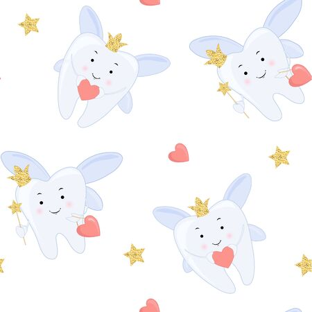 Tooth fairy Vector cartoon illustration. Stylized tooth Seamless pattern, background. Vettoriali