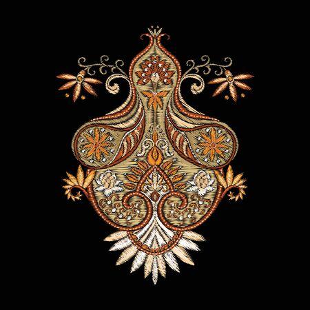 Imitazione del ricamo di elementi tradizionali paisley. Illustrazione vettoriale..