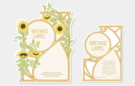 Sunflower. Set of 2 labels, decorative frames, borders. Good for product label with place for text Colored vector illustration. In art nouveau style, vintage, old, retro. Isolated on white background. Banco de Imagens - 133734710