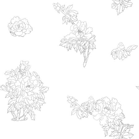 Peony tree branch with flowers in the style of Chinese painting on silk Seamless pattern, background. Outline hand drawing vector illustration.. Banco de Imagens - 133734713