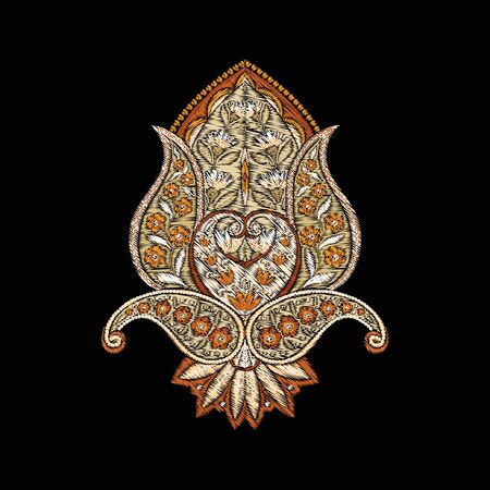 Embroidery imitation of traditional paisley elements. Colored vector illustration..