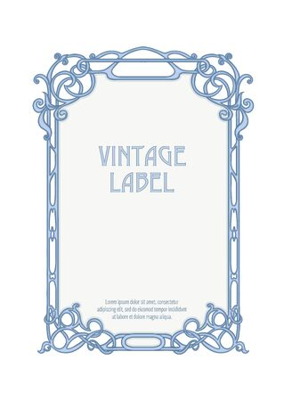 Label, decorative frame, border. Good for product label. with place for text Colored vector illustration. In art nouveau style, vintage, old, retro style. Isolated on white background.. Banco de Imagens - 133734743