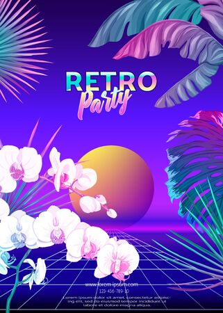 ..Retro Futurism. Vector futuristic synth wave illustration. Rave party Flyer design template, background with tropical plants in 1980s style. 80s Retro poster, retrowave Illustration