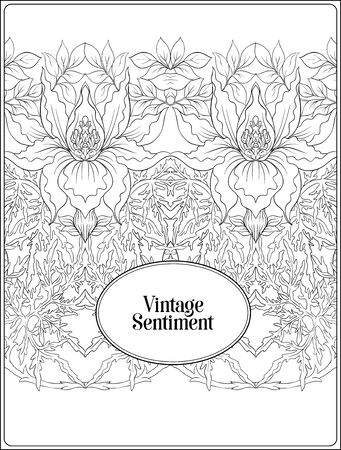 Floral pattern, background In art nouveau style, vintage, old, retro style. In gold and black. Good for the cover of a notebook, tablet, phone, product label. Outline hand drawing vector illustration Ilustração