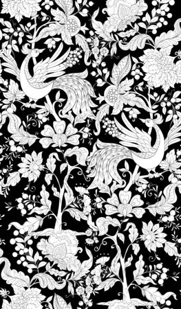 Fantasy floral seamless pattern with bird in jacobean embroidery style, vintage, old, retro style. Black-and-white graphics. Vector illustration.