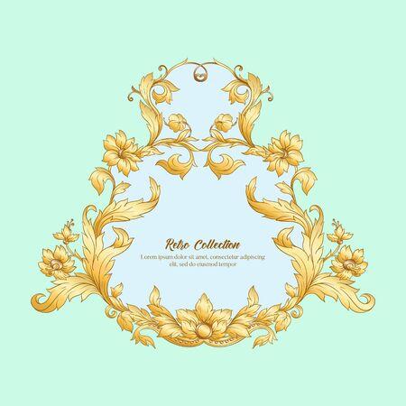 Border, frame label In baroque rococo, victorian renaissance style. Trendy floral vintage pattern. Vector illustration