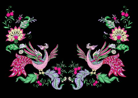 Floral decorative elements in jacobean embroidery style, fantasy floral pattern with bird, vintage, old, retro style. Embroidery imitation for neck line. Vector illustration.