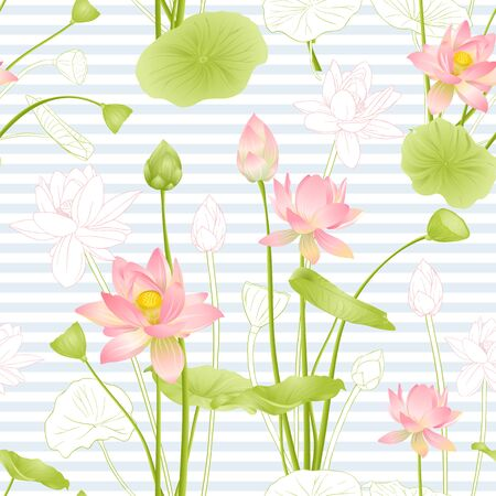 Lotus flowers seamless pattern. Vector illustration. On blue and white stripes background. Colored and outline design. Illustration