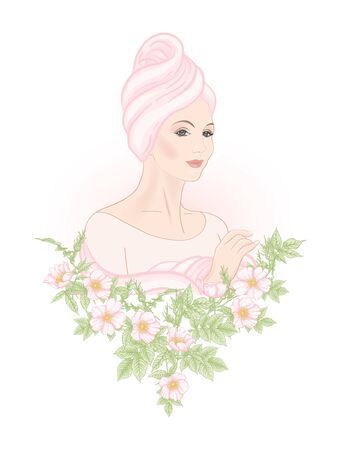 Beautiful woman 30-39 or 40-49 woman with a towel on her head and eglantine flowers. Hand drawn portrait, vector line art illustration.