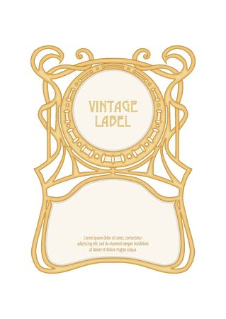 Etichetta, cornice decorativa, bordo. Buono per l'etichetta del prodotto. con posto per il testo Illustrazione vettoriale colorata. In stile art nouveau, vintage, antico, retrò. Isolato su sfondo bianco..