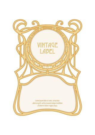 Etiqueta, marco decorativo, borde. Bueno para la etiqueta del producto. con lugar para el texto Ilustración de vector de color. En estilo art nouveau, estilo vintage, antiguo, retro. Aislado sobre fondo blanco.