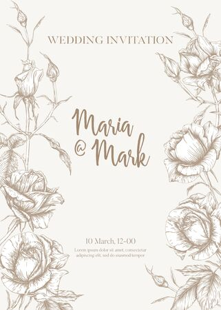 Wedding invitation with roses and spring flowers. Graphic drawing, engraving style. Vector illustration. In vintage beige color.