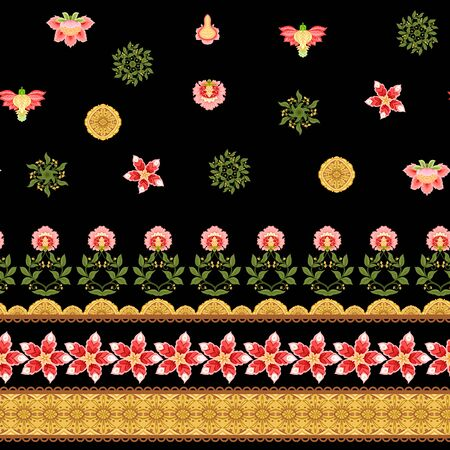 Seamless pattern with stylized ornamental flowers In soft orange and green colors. Jacobean embroidery. Colored vector illustration In soft orange and green colors. Isolated on black background. Ilustrace