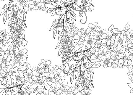 Seamless pattern, background with pink cherry blossoms, apple trees, sakura and acacia. Outline hand drawing vector illustration. Vector illustration.