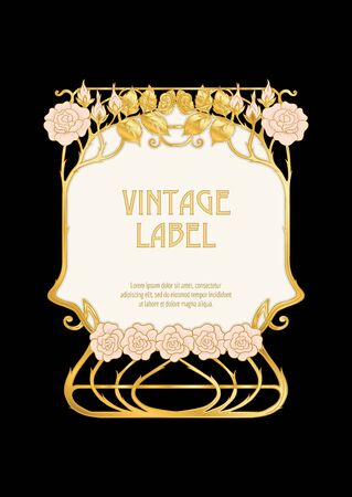 Label, decorative frame, border. Good for product label. with place for text In art nouveau style, vintage, old, retro style. In gold and black. Isolated on black background.. Banco de Imagens - 133735058