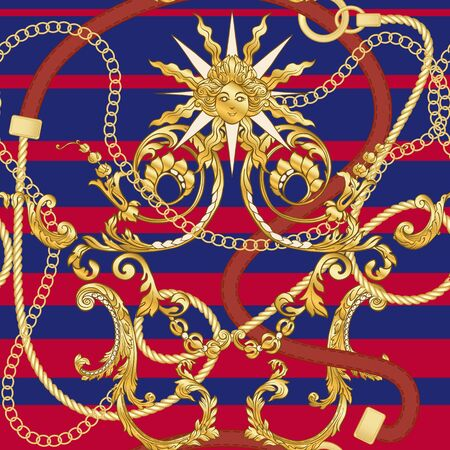 Baroco pattern and gold chains and belts seamless patterns for fabric design. Colored vector illustration. On red and blue stripes background..