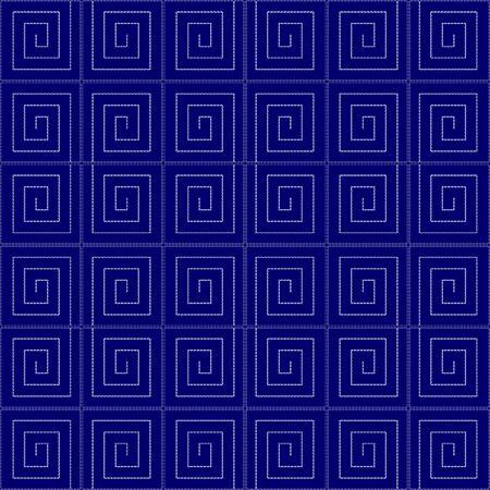Imitation of traditional Japanese embroidery Sashiko. Seamless pattern, background. Vector illustration. On navy blue background.. Ilustracja