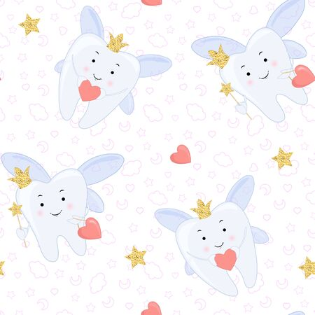 Tooth fairy Vector cartoon illustration. Stylized tooth Seamless pattern, background. Çizim