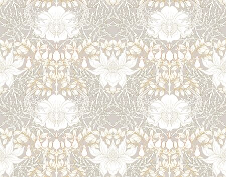 Floral Seamless pattern, background with In art nouveau style, vintage, old, retro style. Colored vector illustration.. 向量圖像