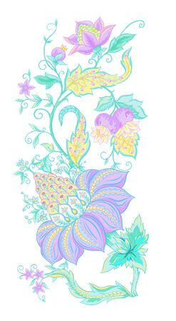 Fantasy flowers, traditional Jacobean embroidery style. Elements for design. Vector illustration in bright pink and green colors isolated on white background.. Ilustrace
