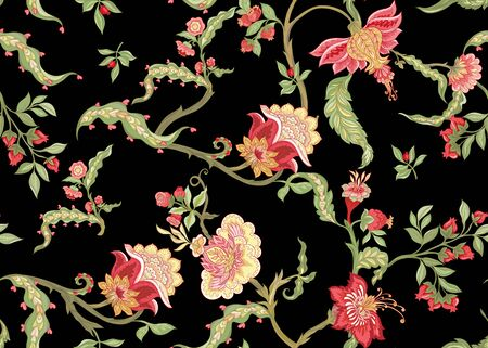 Seamless pattern with stylized ornamental flowers in retro, vintage style. Jacobin embroidery. Colored vector illustration In pink, green, red colors