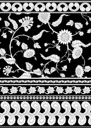 Indian ethnic pattern with stylized florwers..Vector illustration in black and white graphic. . Ilustracja