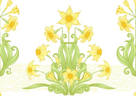 Narcissus. Seamless pattern, background. Colored vector illustration. In art nouveau style, vintage, old, retro style. In soft yellow colors. Isolated on white background 向量圖像