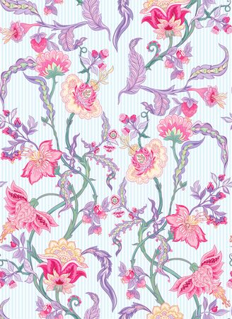 Pattern elements with stylized ornamental flowers in retro, vintage style. Jacobean embroidery. Outline hand drawing vector illustration. Ilustrace