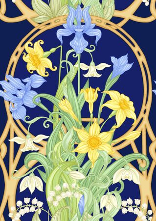 Spring flowers seamless pattern, background. Colored vector illustration. In art nouveau style, vintage, old, retro style. Isolated on white background.. Иллюстрация