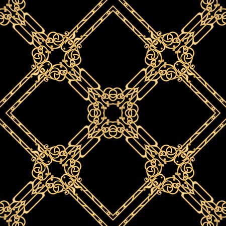 Decorative motif, frames, borders. Seamless pattern, background. Colored vector illustration. In art nouveau style, vintage, old, retro style. In vintage beige colors. Isolated on black background..
