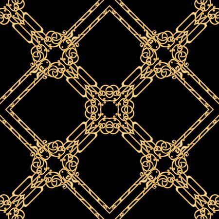 Motivo decorativo, marcos, cenefas. Patrón sin costuras, fondo. Ilustración de vector de color. En estilo art nouveau, estilo vintage, antiguo, retro. En colores beige vintage. Aislado sobre fondo negro. Ilustración de vector