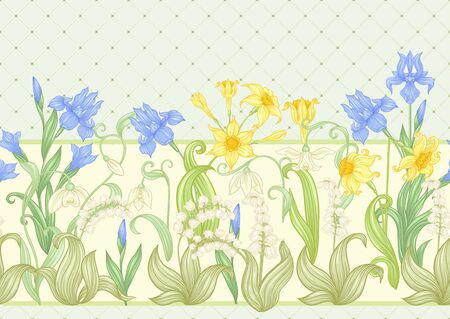 Spring flowers. Narcissus, Iris, lily of the valley, may-lily, Seamless pattern, background. Vector illustration. In art nouveau style, vintage, old, retro style. On soft green background.. 向量圖像