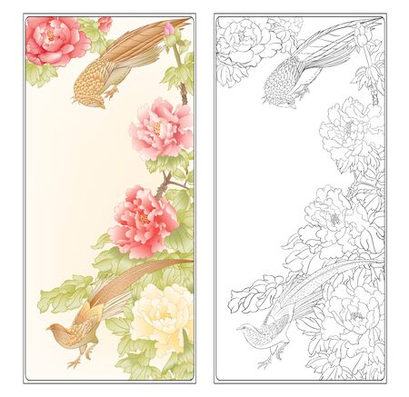 Peony tree branch with flowers with pheasants in the style of Chinese painting on silk Coloring page for theadult coloring book. with colored sample. Outline hand drawing vector illustration..